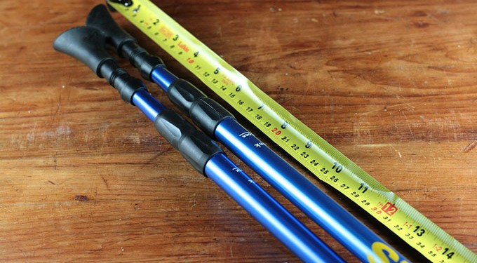 Setting the correct height on an adjustable Nordic Walking Pole
